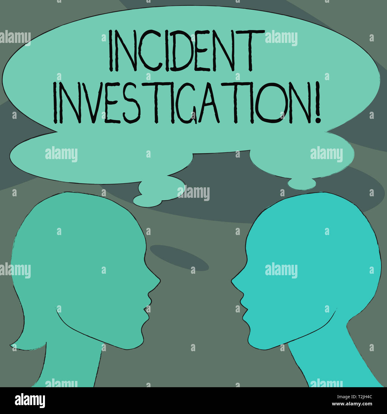 Handwriting text Incident Investigation. Conceptual photo Account and analysis of an incident based on evidence Silhouette Sideview Profile Image of M - Stock Image