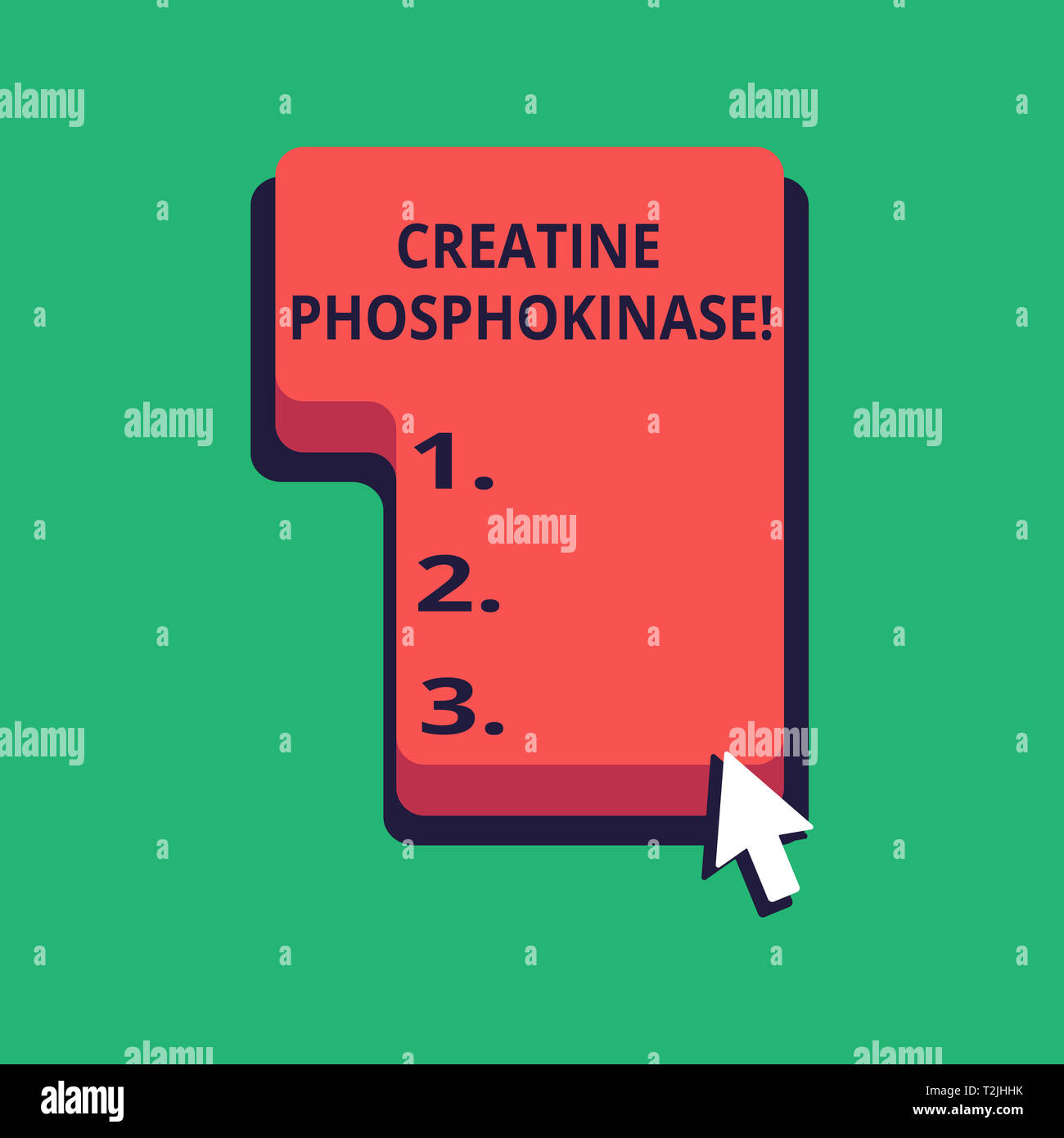 Word writing text Creatine Phosphokinase. Business photo showcasing protein that aids chemical changes in the body Direction to Press or Click the Red Stock Photo