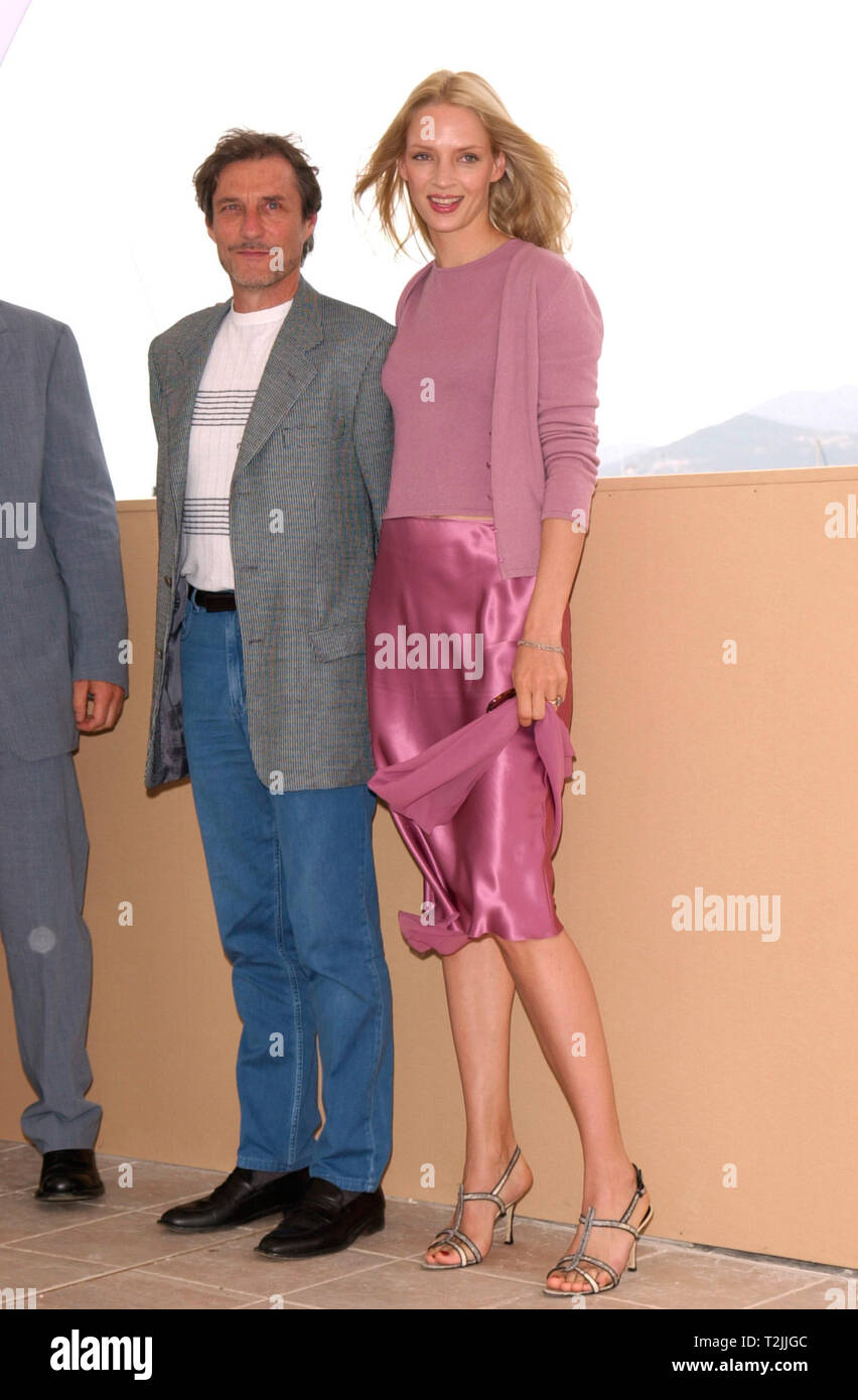CANNES, FRANCE. May 10, 2000:  Actress Uma Thurman & Director Roland Joffe at the Cannes Film Festival where their movie Vatel opened the event. Picture: Paul Smith/Featureflash Stock Photo