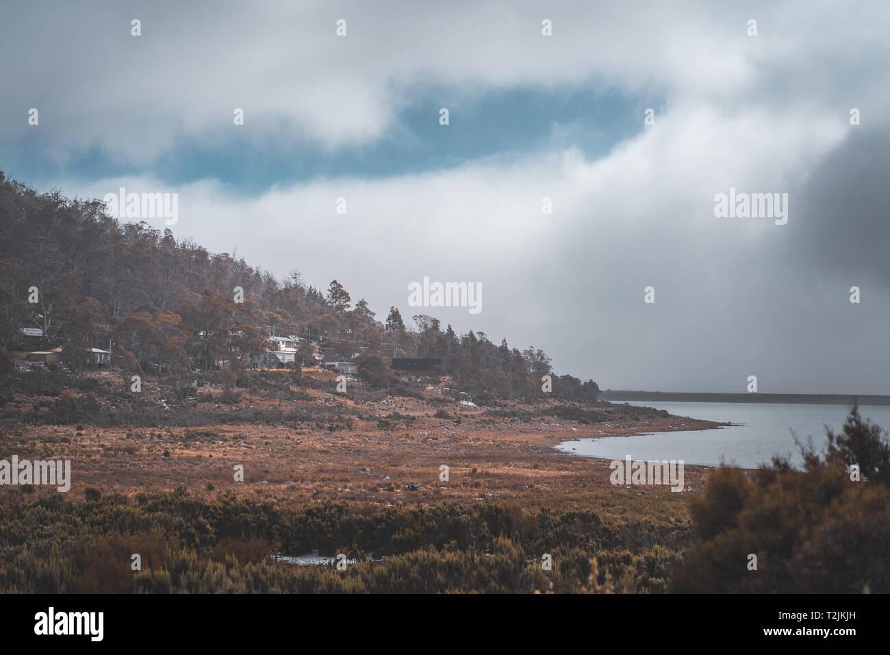 Tasmania Cloudy Shore - Stock Image