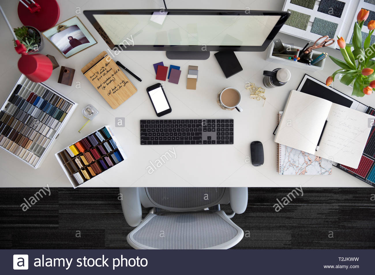 View from above interior design desk - Stock Image