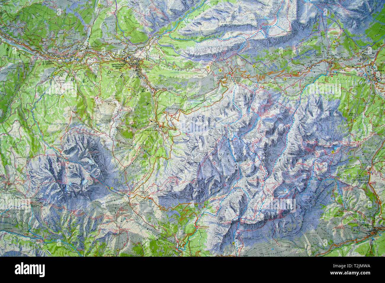 DOLOMITES, ITALY - AUG 6, 2018 - Topographic trail map of the ... on