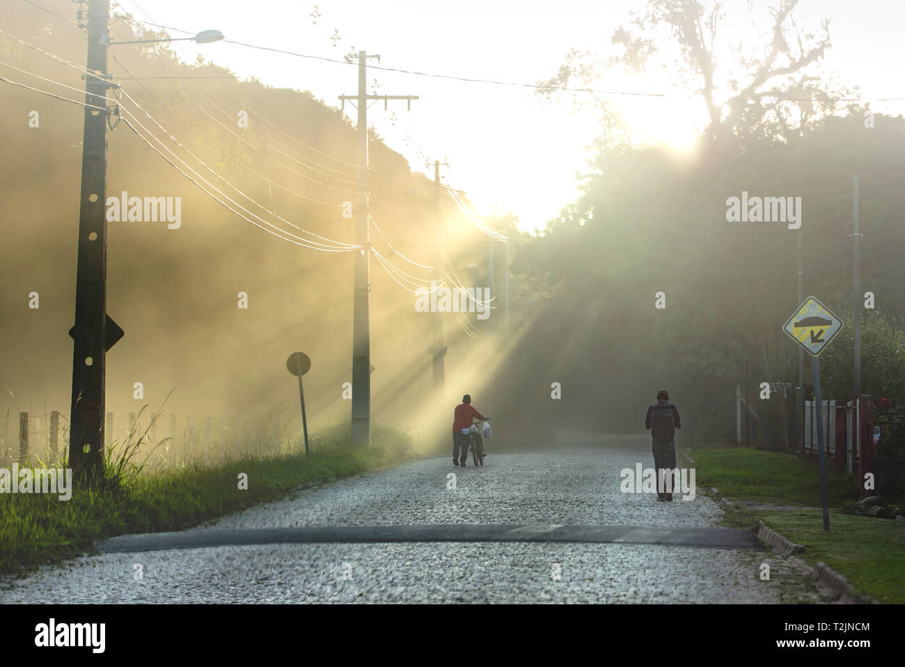 São Luiz Do Puruna, Parana, Brazil - March 30, 2019: Sunset at 17:27:36 in a small and sparsely populated city of Parana. - Stock Image