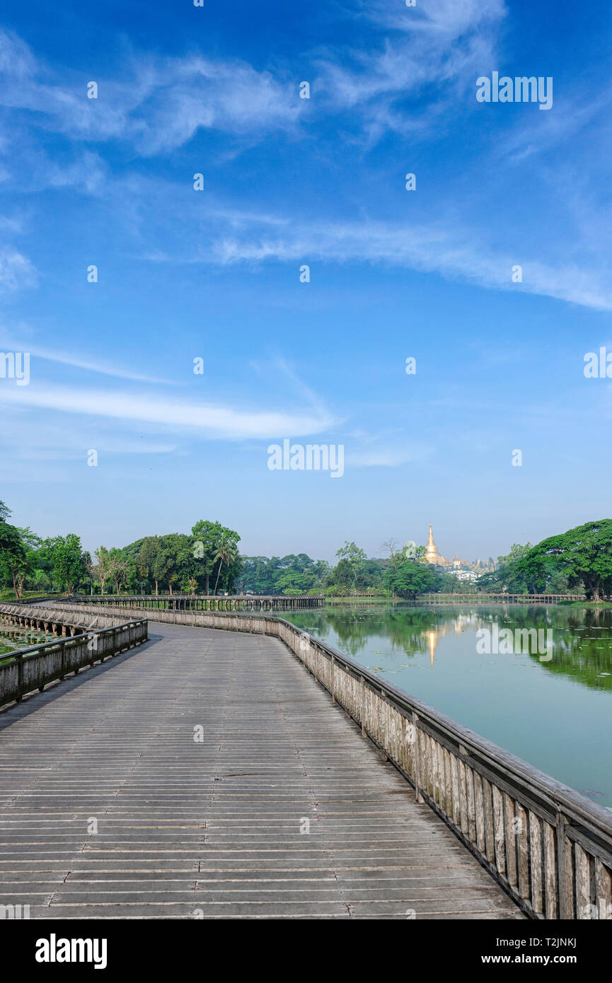 Kandawgyi Lake or also called as Royal Lake is one of the most beautiful attractions at sunset or sunrise in Yangon, Myanmar (Burma) Stock Photo