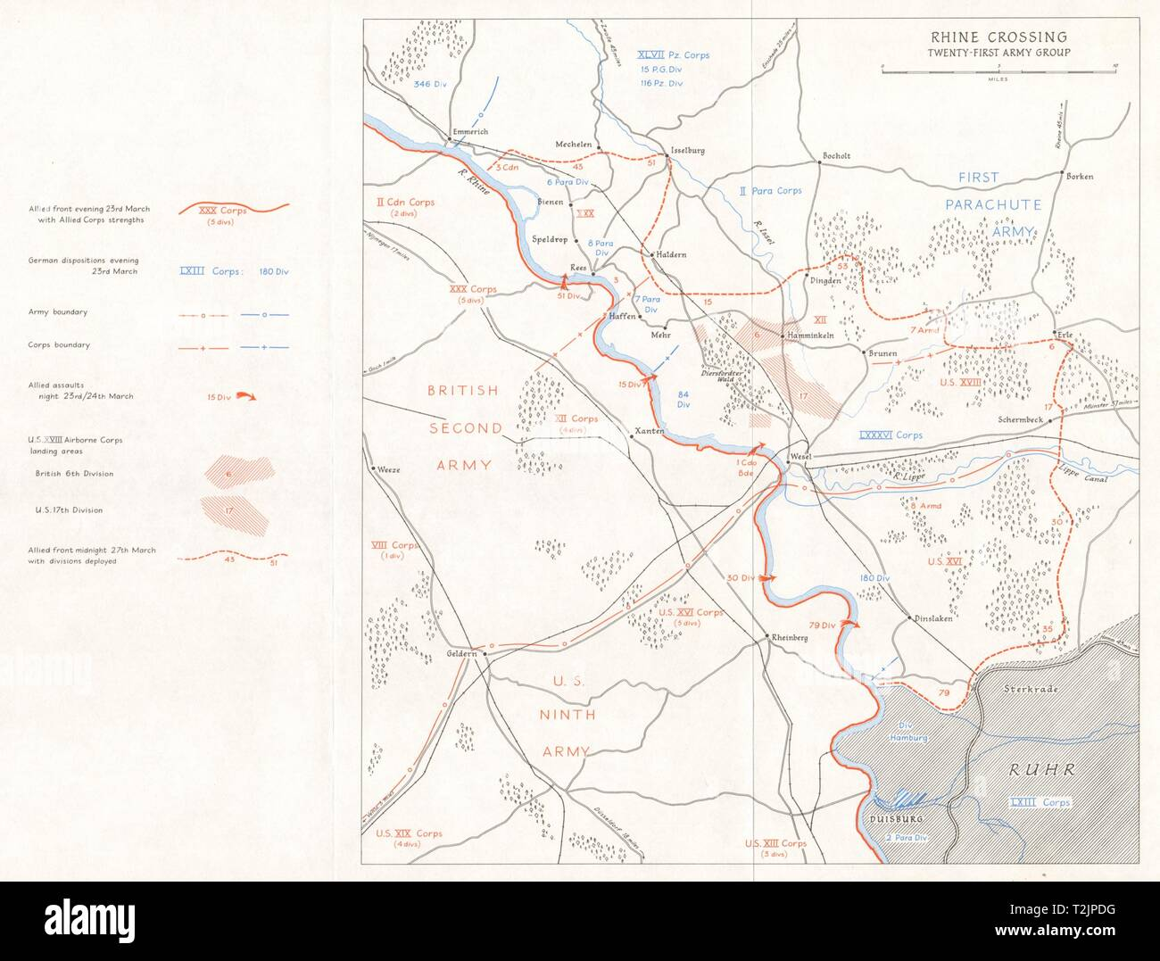 Allies advance. Rhine Crossing, 21st Army Group March 1945. Germany WW2 1968 map - Stock Image