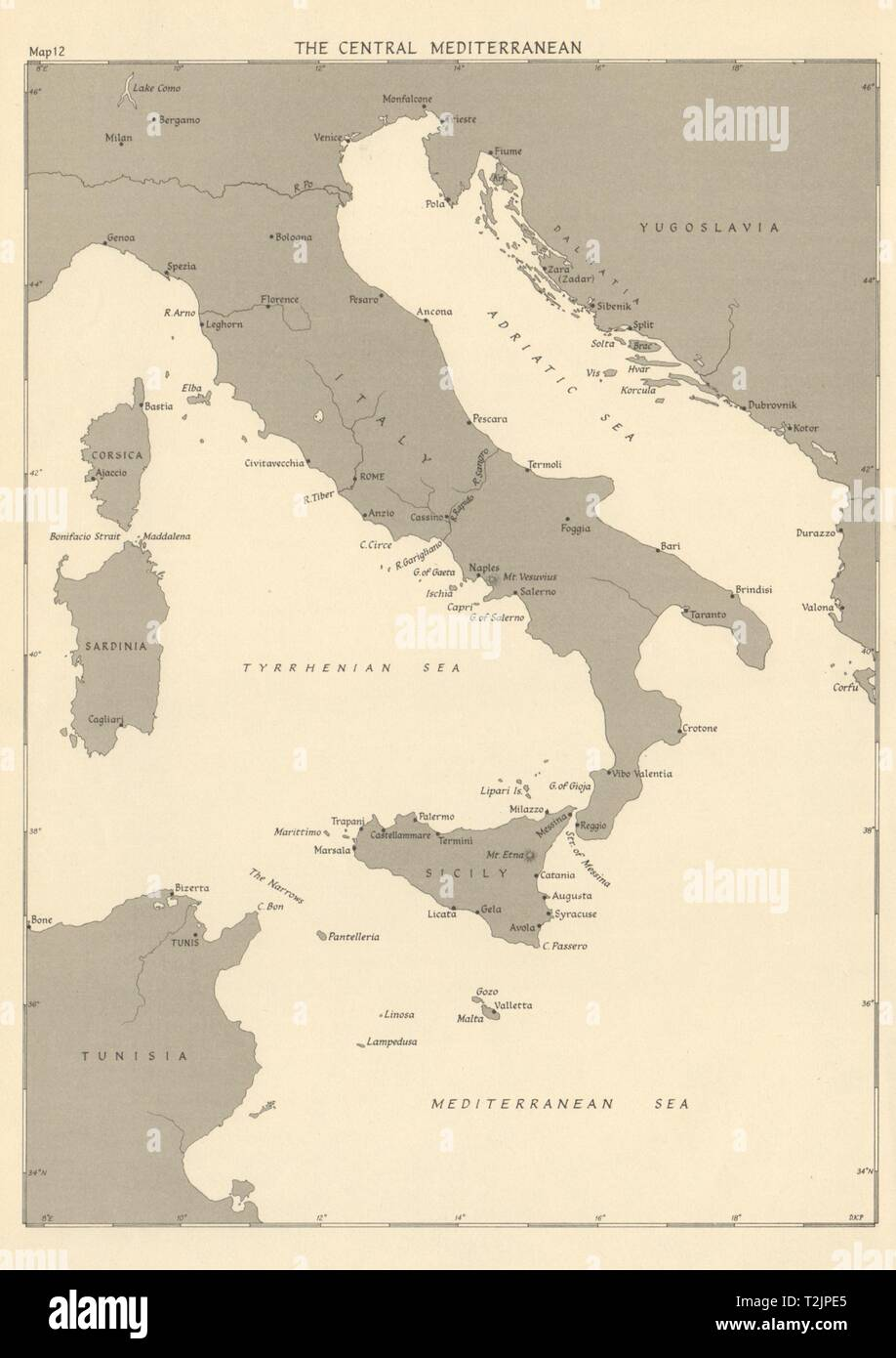 Central Mediterranean ports in 1943. Italy Adriatic. World War 2 1954 old map - Stock Image