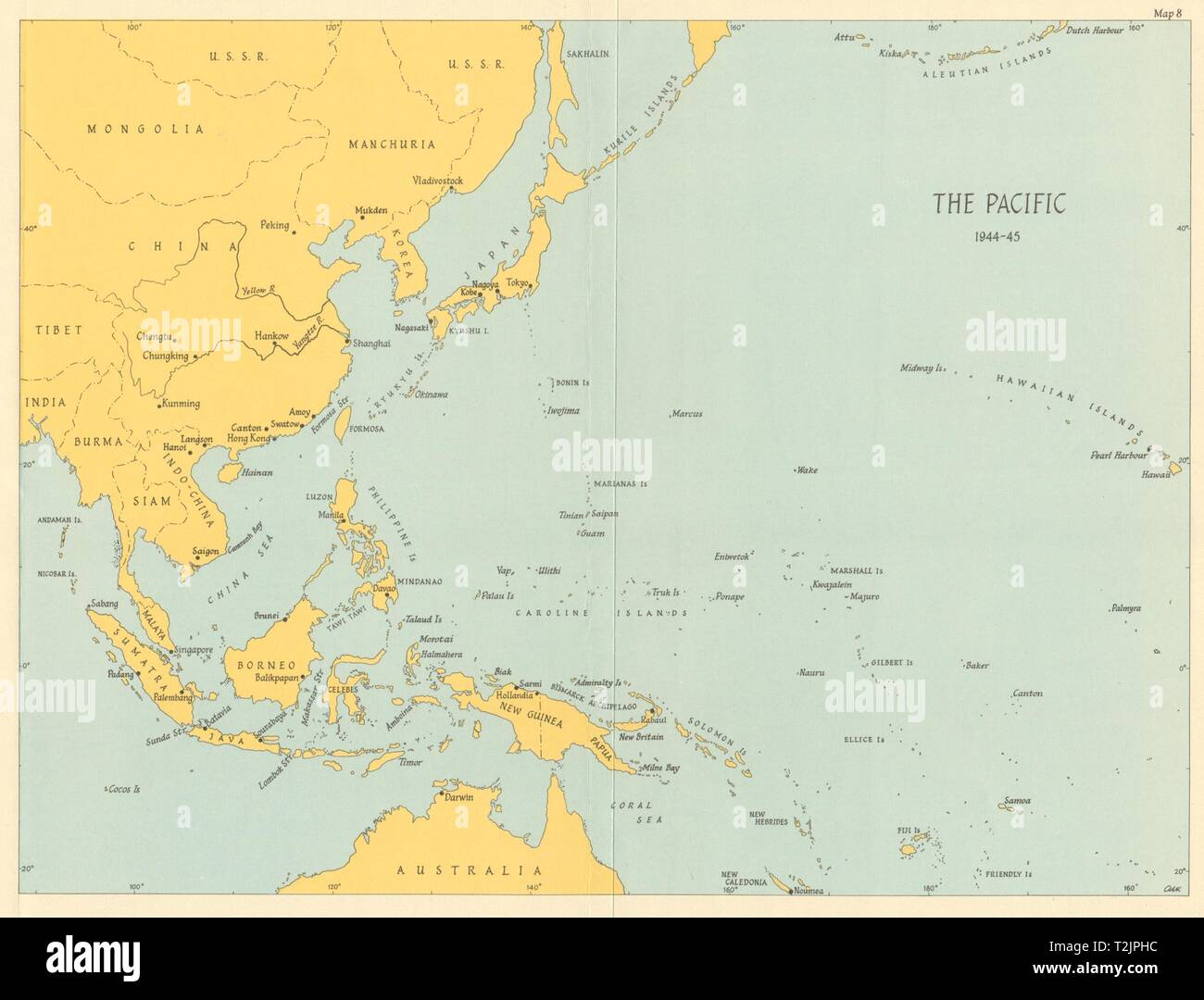 Picture of: Pacific Ocean Theatre 1944 45 World War 2 1965 Old Vintage Map Plan Chart Stock Photo Alamy