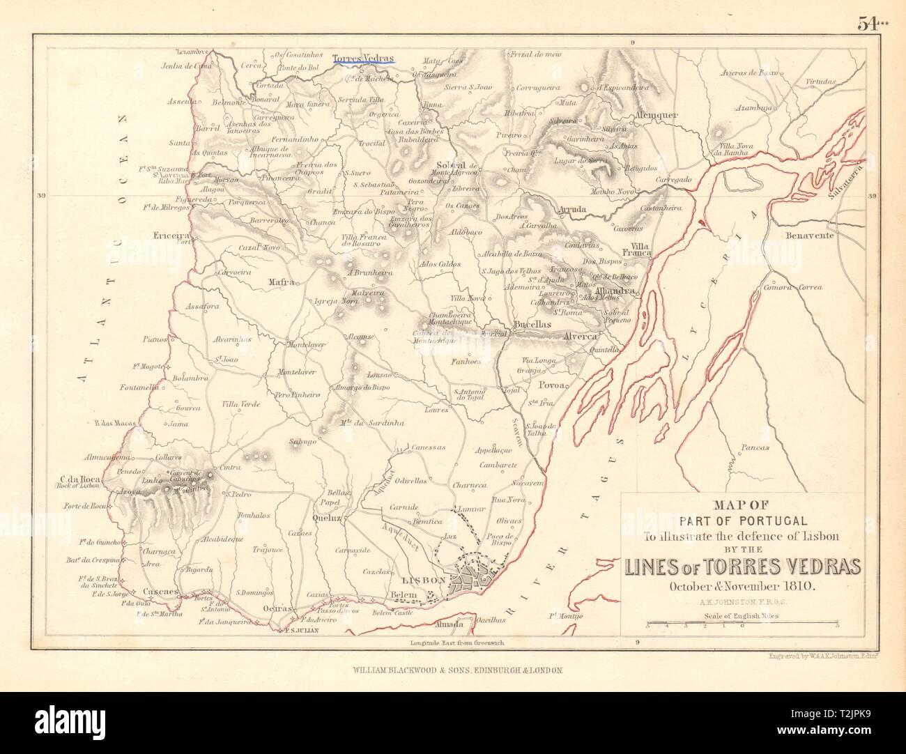 Defence of Lisbon. Lines of Torres Vedras. Oct-Nov 1810. Peninsula War 1850 map - Stock Image