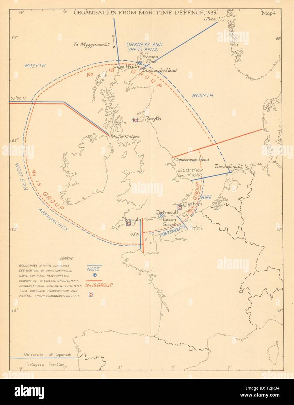 UK Maritime Defence organisation 1939. World War 2. Operation Sealion 1957 map - Stock Image