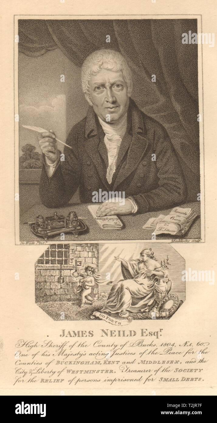 James Neild. Chelsea resident. Prison reformer & jeweller 1810 old print - Stock Image