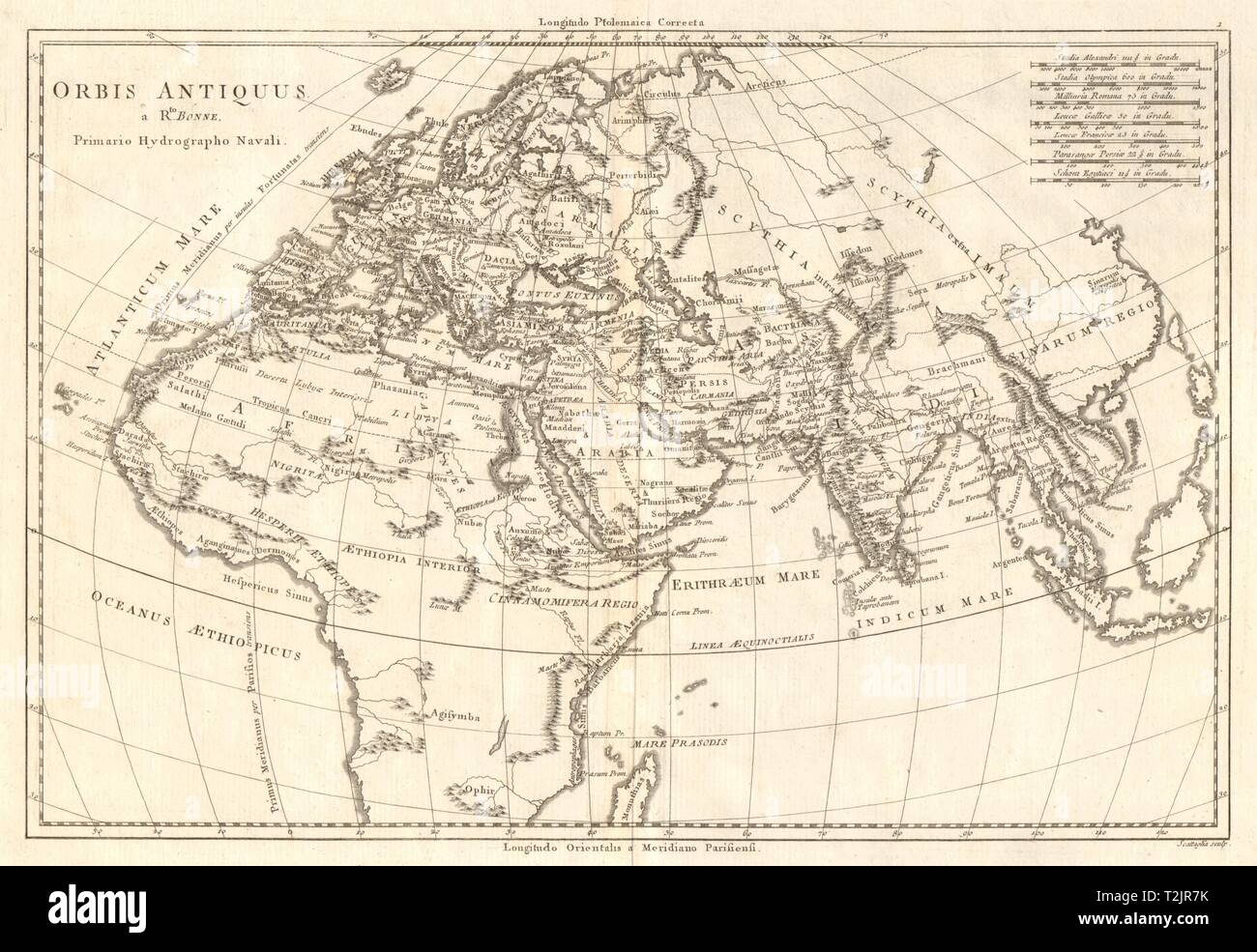 Orbis Antiquus. The Ancient World. Europe Africa Asia. BONNE 1789 old map - Stock Image