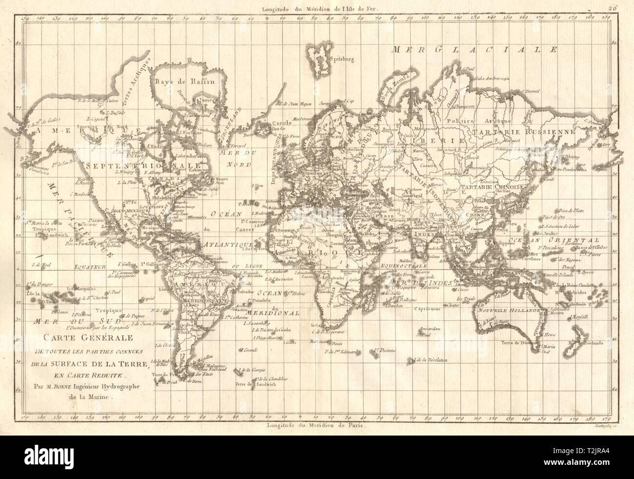 Carte générale de toutes les parties connues de la… terre. World. BONNE 1789 map - Stock Image