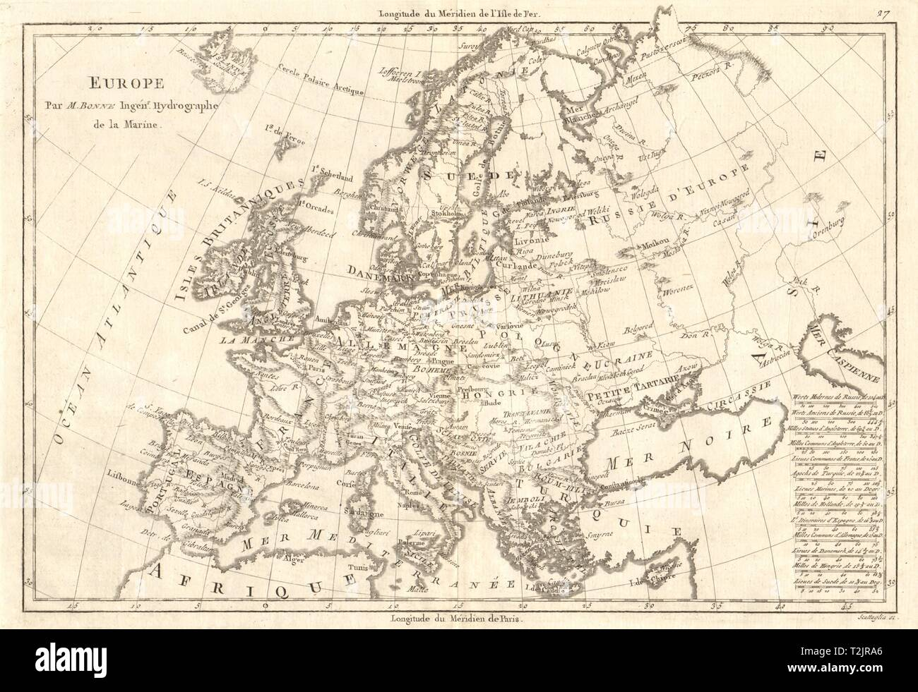 Antique map of Europe by BONNE 1789 old vintage plan chart - Stock Image