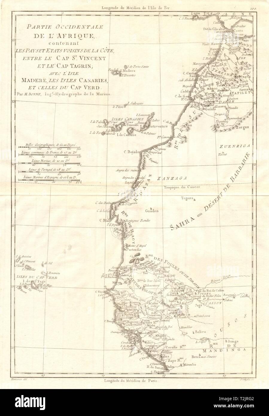 Partie Occidentale de l'Afrique. West Africa coast Canary islands BONNE 1790 map - Stock Image