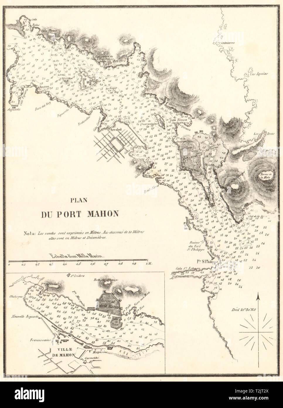 Plan of Port Mahon. 'Plan du Port Mahon'. Spain. Menorca. GAUTTIER 1851 map - Stock Image
