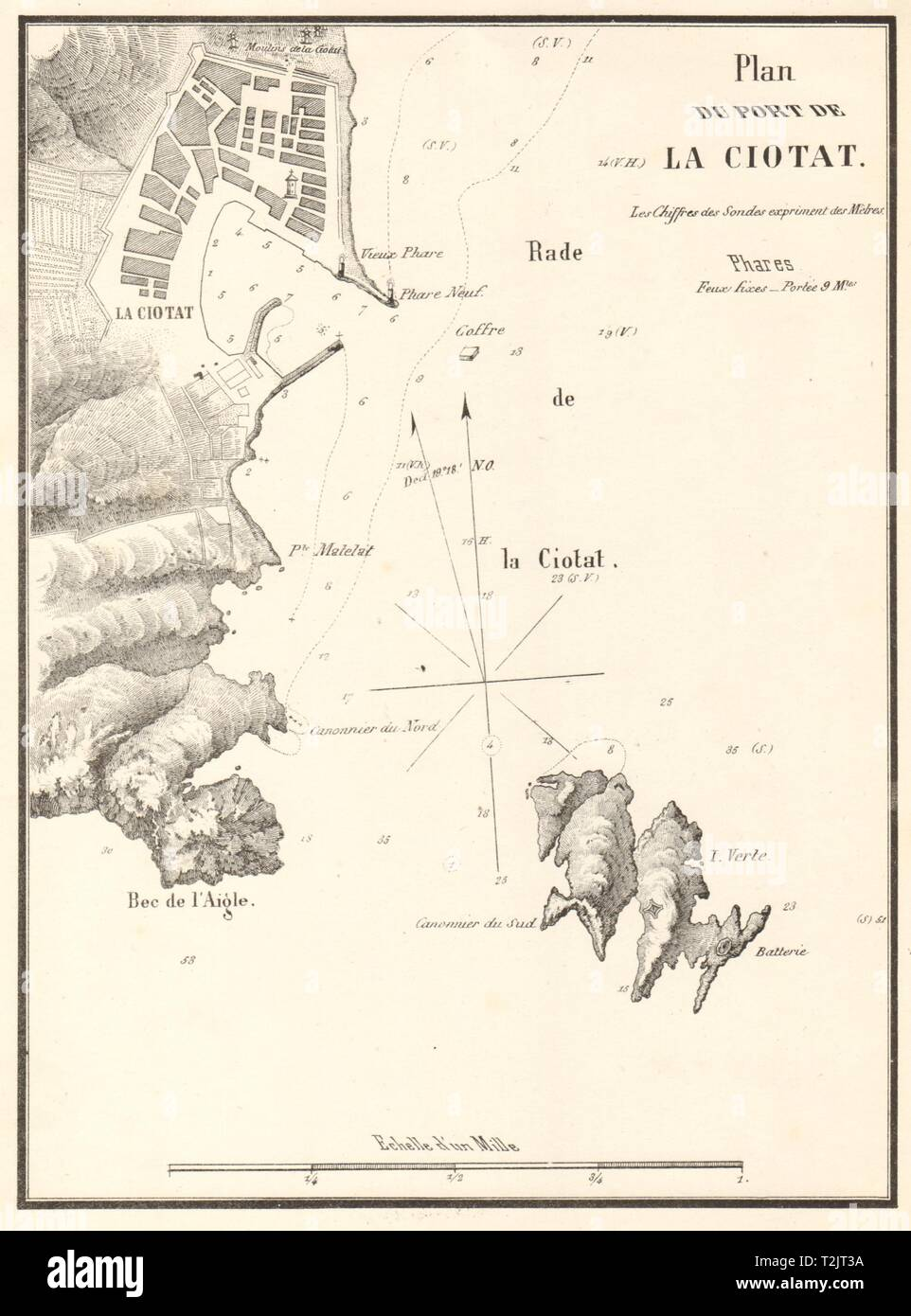 Plan du Port de La Ciotat. Bouches-du-Rhone. GAUTTIER 1851 old antique map - Stock Image