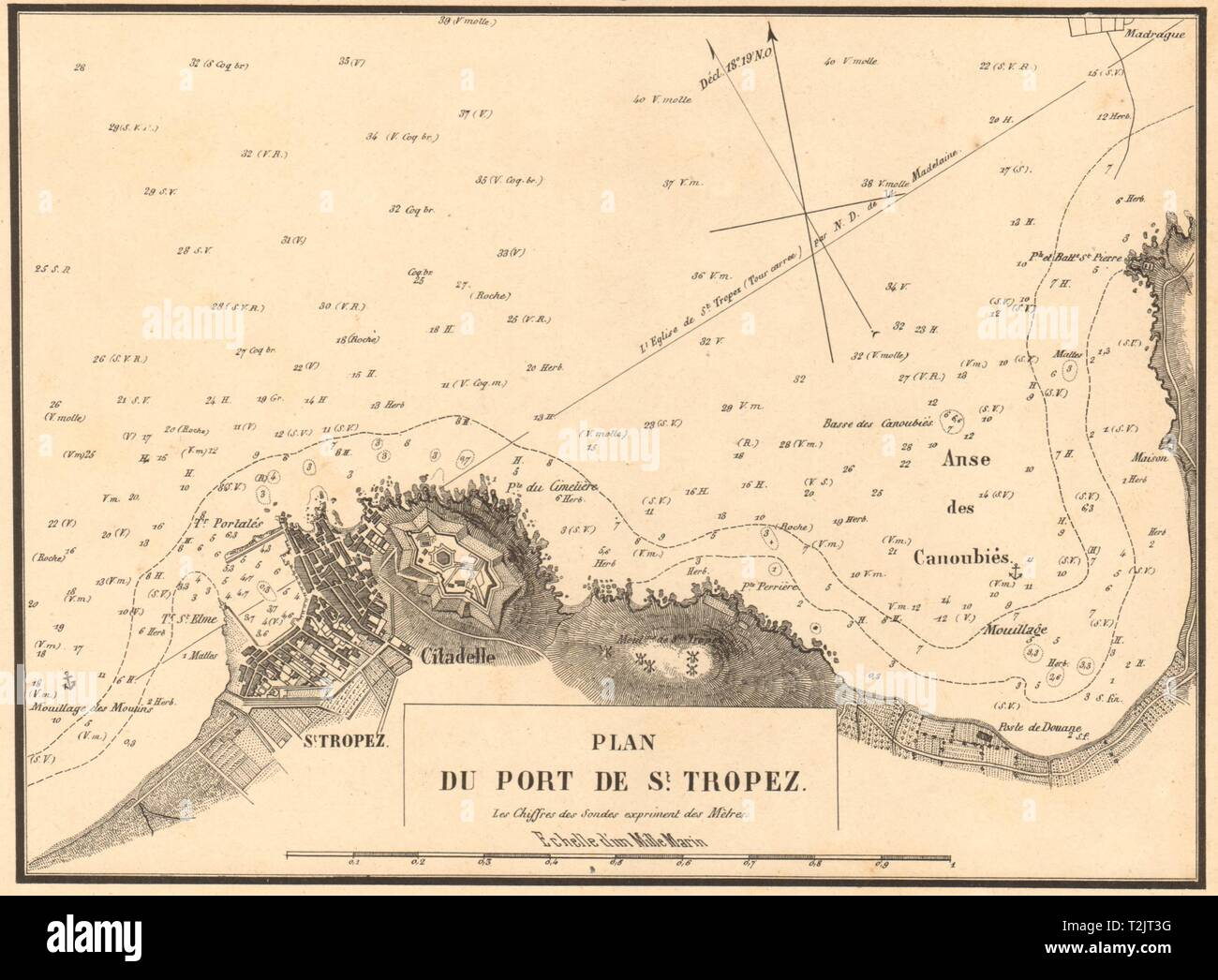Plan du Port de St Tropez. Var. GAUTTIER 1851 old antique map chart - Stock Image