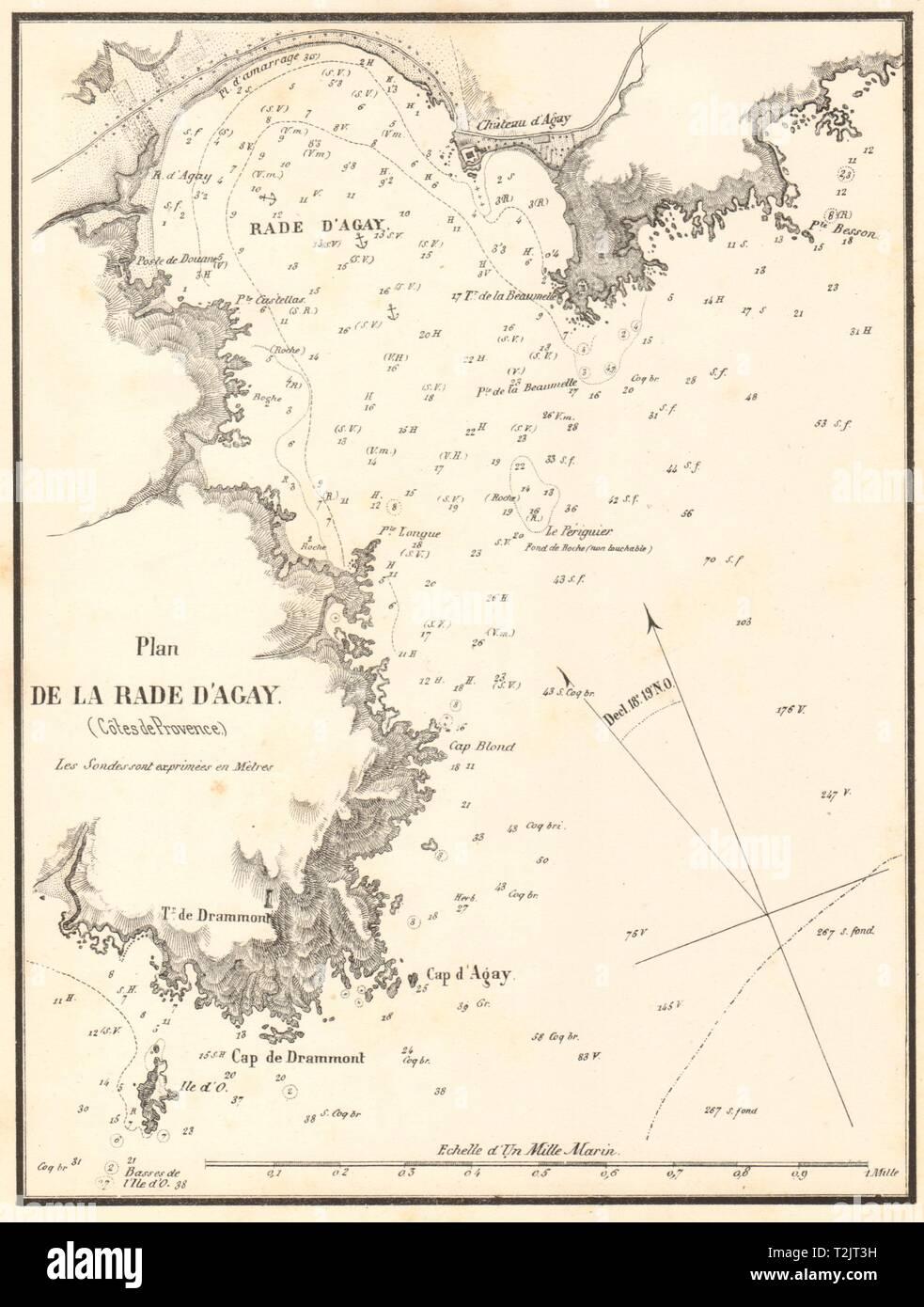 Plan de la Rade d'Agay (Côtes de Provence). Var. GAUTTIER 1851 old antique map - Stock Image
