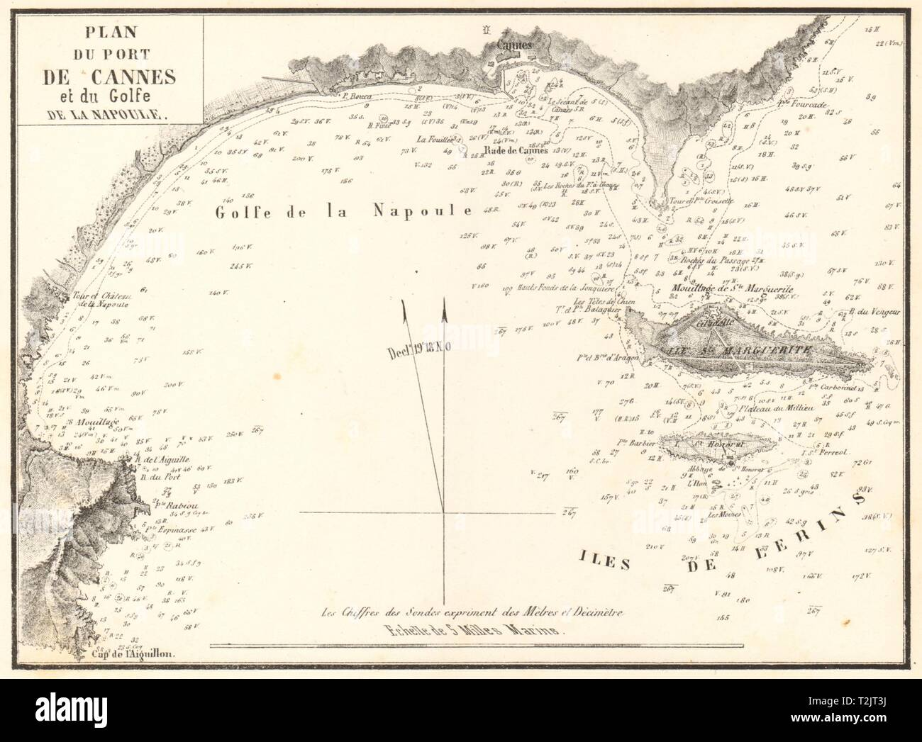 Port de Cannes & du Golfe de la Napoule. Alpes-Maritimes. GAUTTIER 1851 map - Stock Image