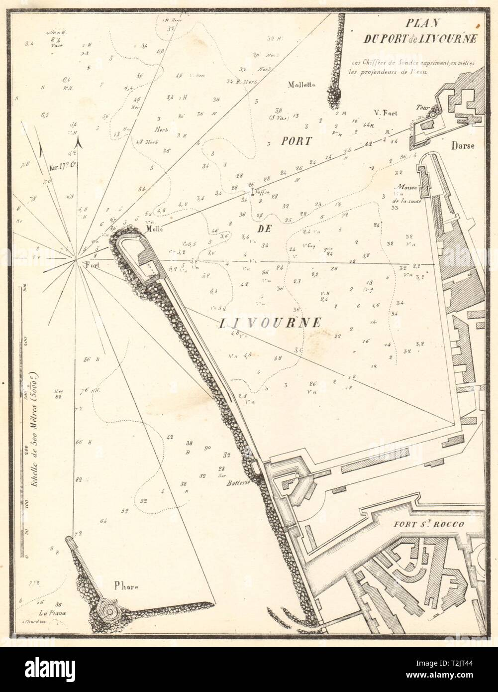 The Port of Livorno. 'Plan du Port de Livourne'. Italy. GAUTTIER 1851 old map - Stock Image
