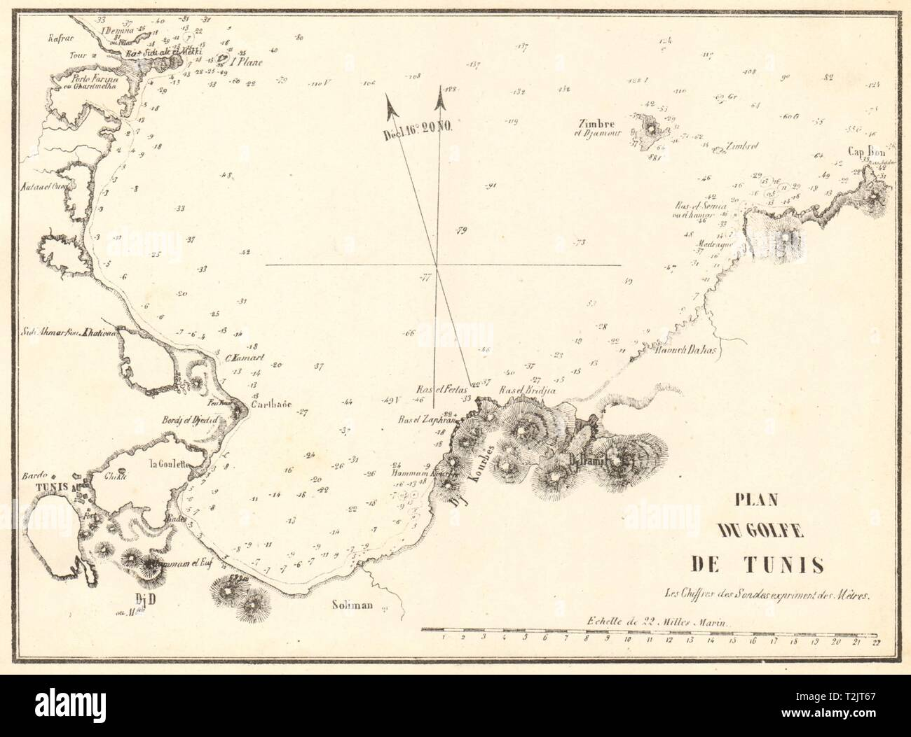 The Gulf of Tunis. 'Plan du Golfe de Tunis'. Tunisia. GAUTTIER 1851 old map - Stock Image