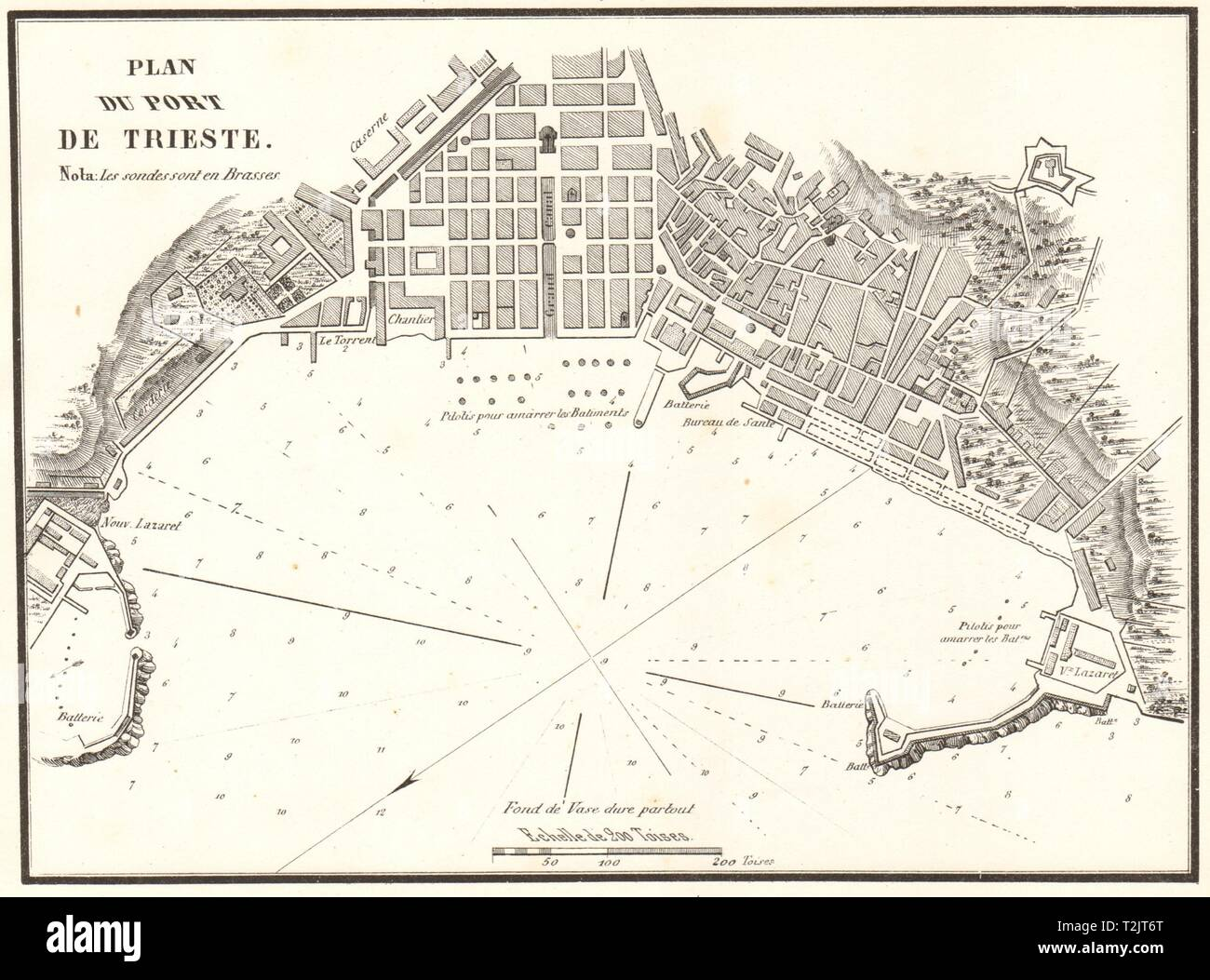 Plan of the Port of Trieste. 'Plan du Port de Trieste'. Italy. GAUTTIER 1854 map - Stock Image