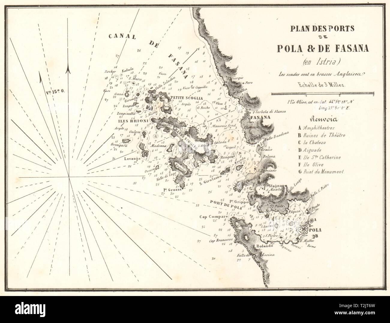 Pula & Fazana. 'Ports de Pola & de Fasana'. Istria Croatia. GAUTTIER 1854 map - Stock Image