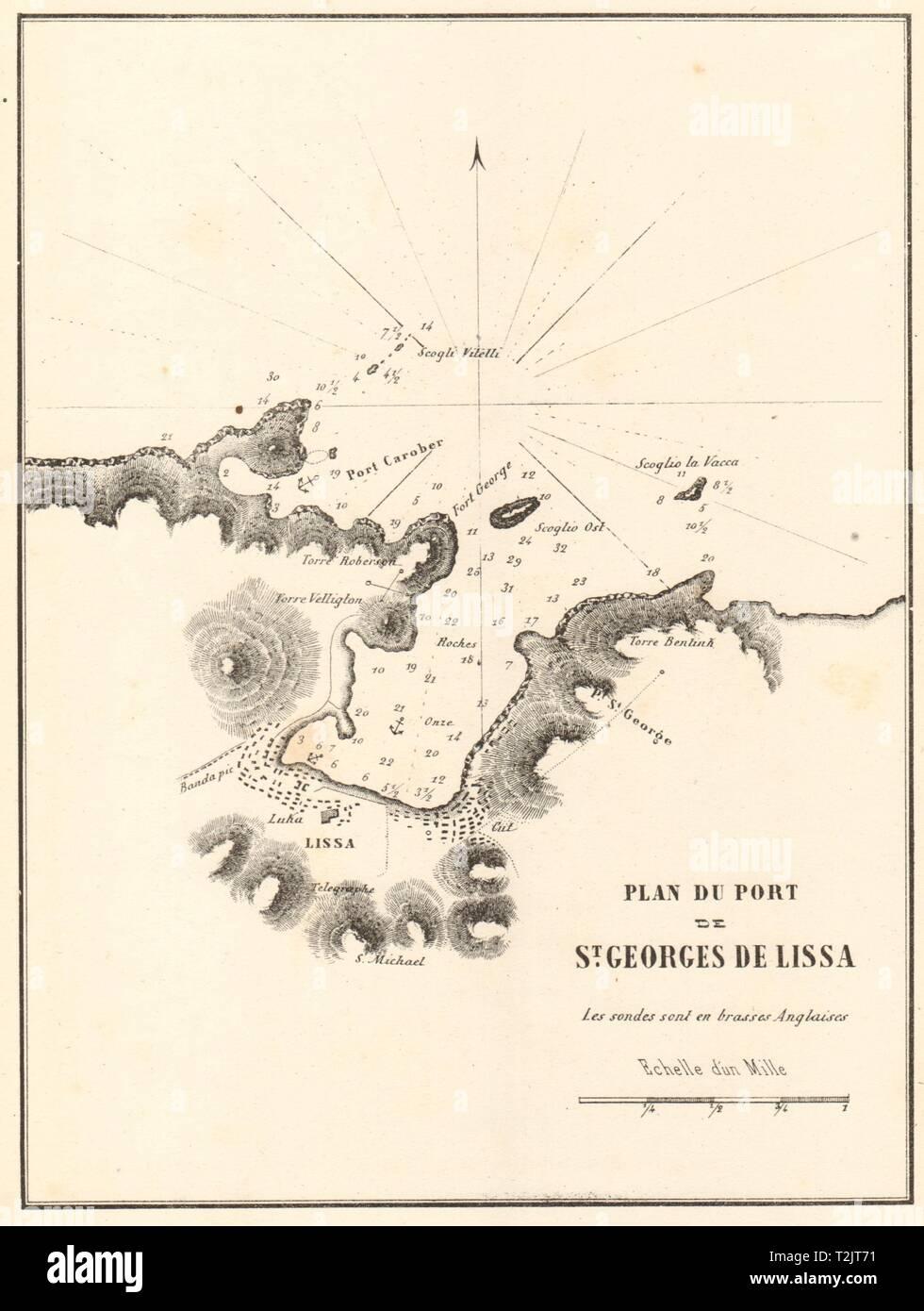 Vis town. 'Plan du Port de St Georges de Lissa'. Croatia. GAUTTIER 1854 map - Stock Image