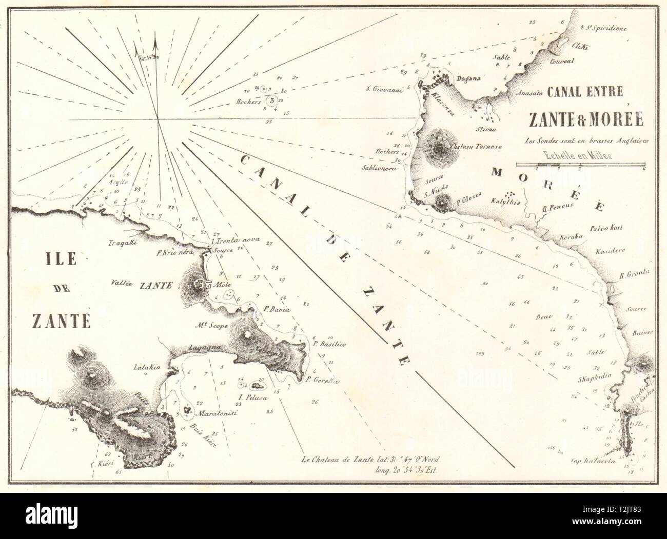 Zakynthos channel. 'Canal entre Zante & Moree'. Greece. GAUTTIER 1854 old map - Stock Image