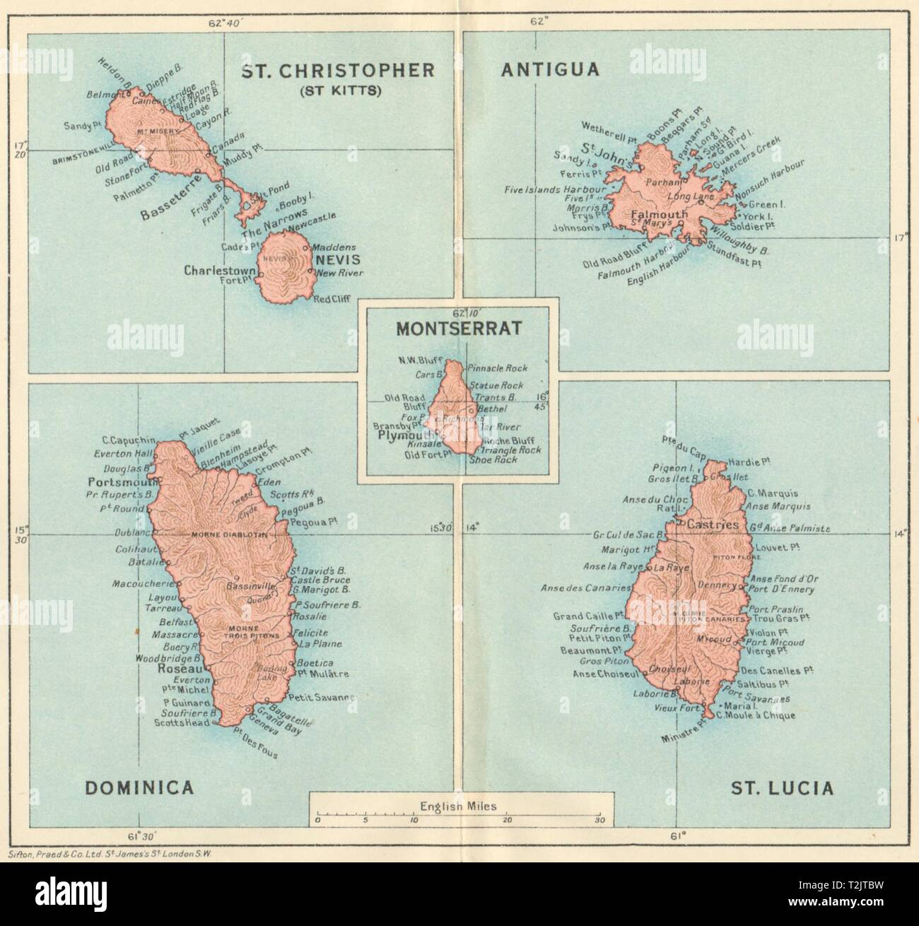 Antigua The Lesser Antilles 1885 old map St John/'s Harbour West Indies
