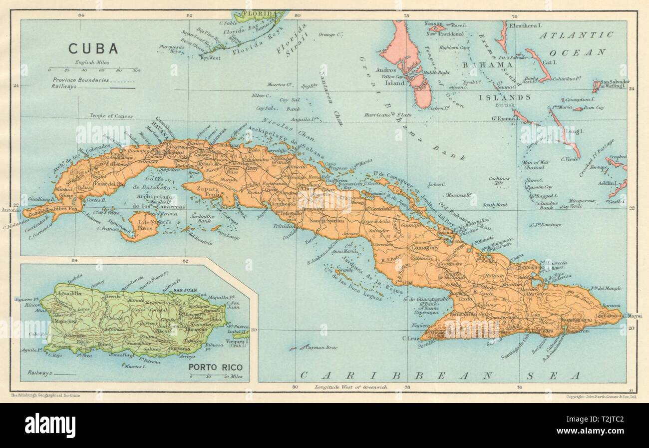 Picture of: Cuba Vintage Map Inset Puerto Rico West Indies Caribbean 1931 Old Stock Photo Alamy