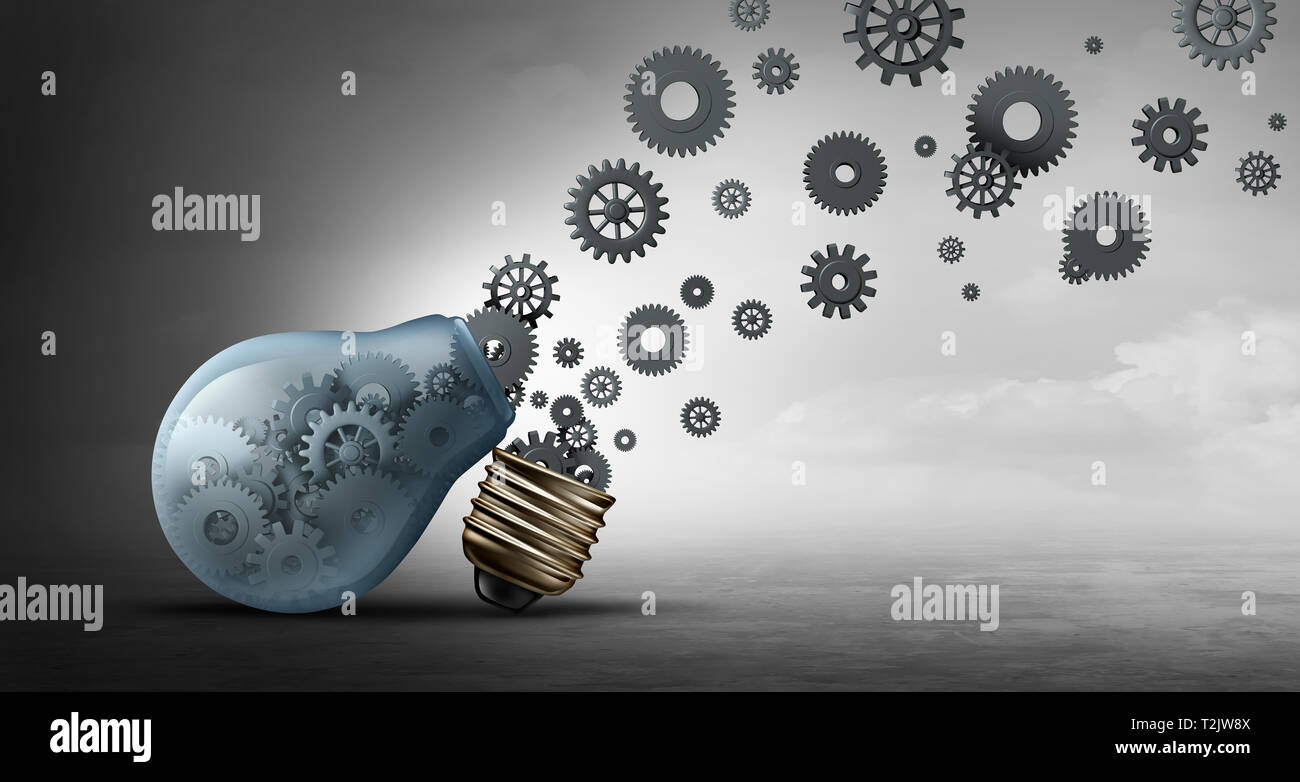 Business communication concept and communicating propaganda or innovation symbol as an open lightbulb or light bulb as a 3D illustration. - Stock Image