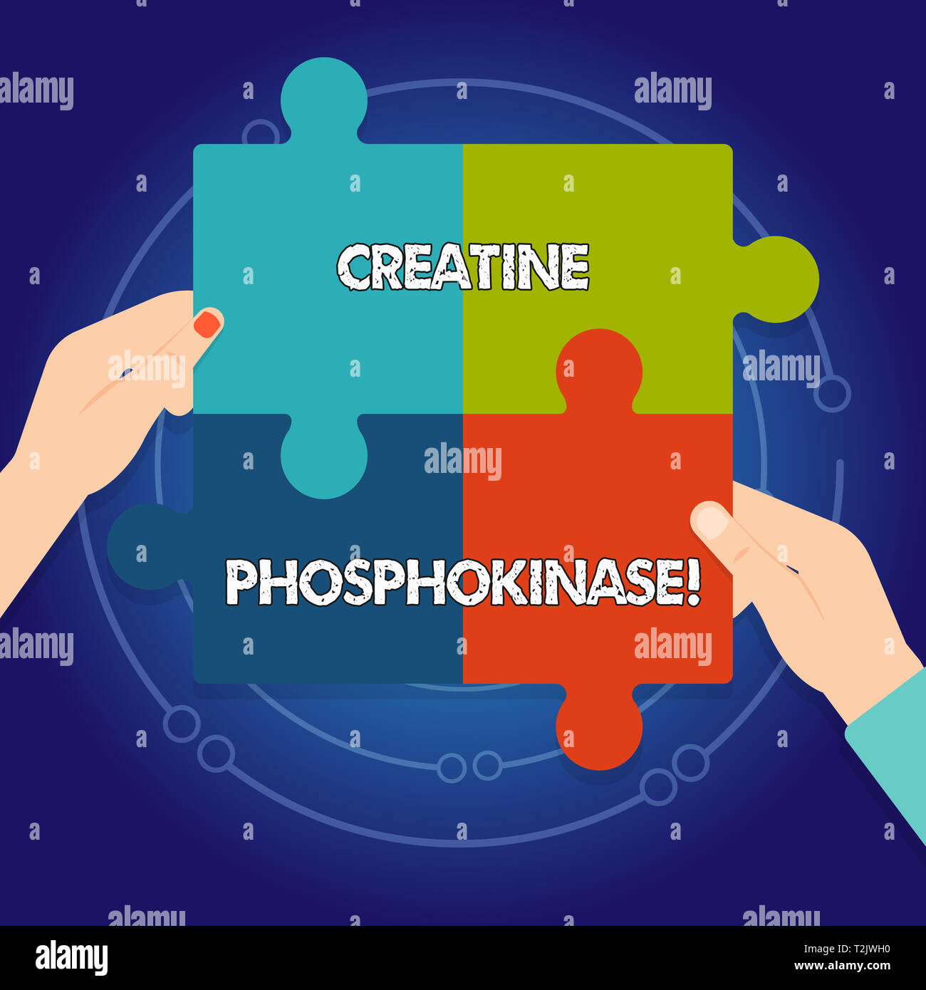 Text sign showing Creatine Phosphokinase. Business photo text protein that aids chemical changes in the body Four Blank Multi Color Jigsaw Puzzle Tile Stock Photo