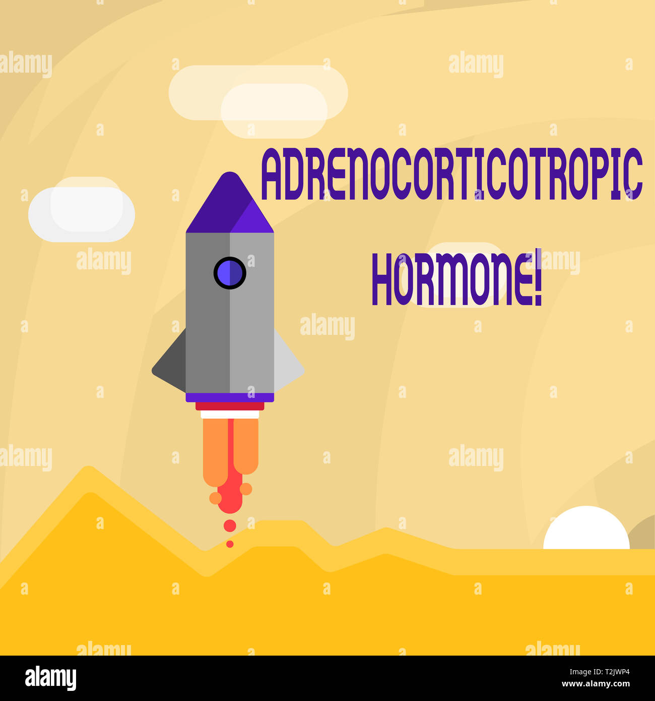 Conceptual hand writing showing Adrenocorticotropic Hormone. Concept meaning hormone secreted by pituitary gland cortex Colorful Spacecraft Shuttle La - Stock Image