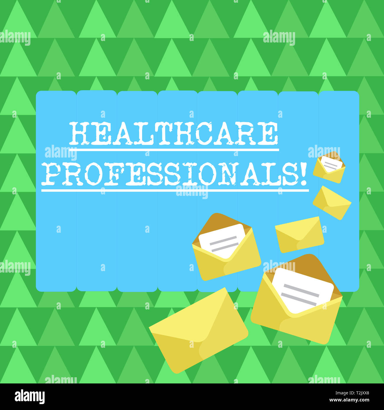 Handwriting text Healthcare Professionals. Conceptual photo operate branches care including medicine surgery Closed and Open Envelopes with Letter Tuc - Stock Image