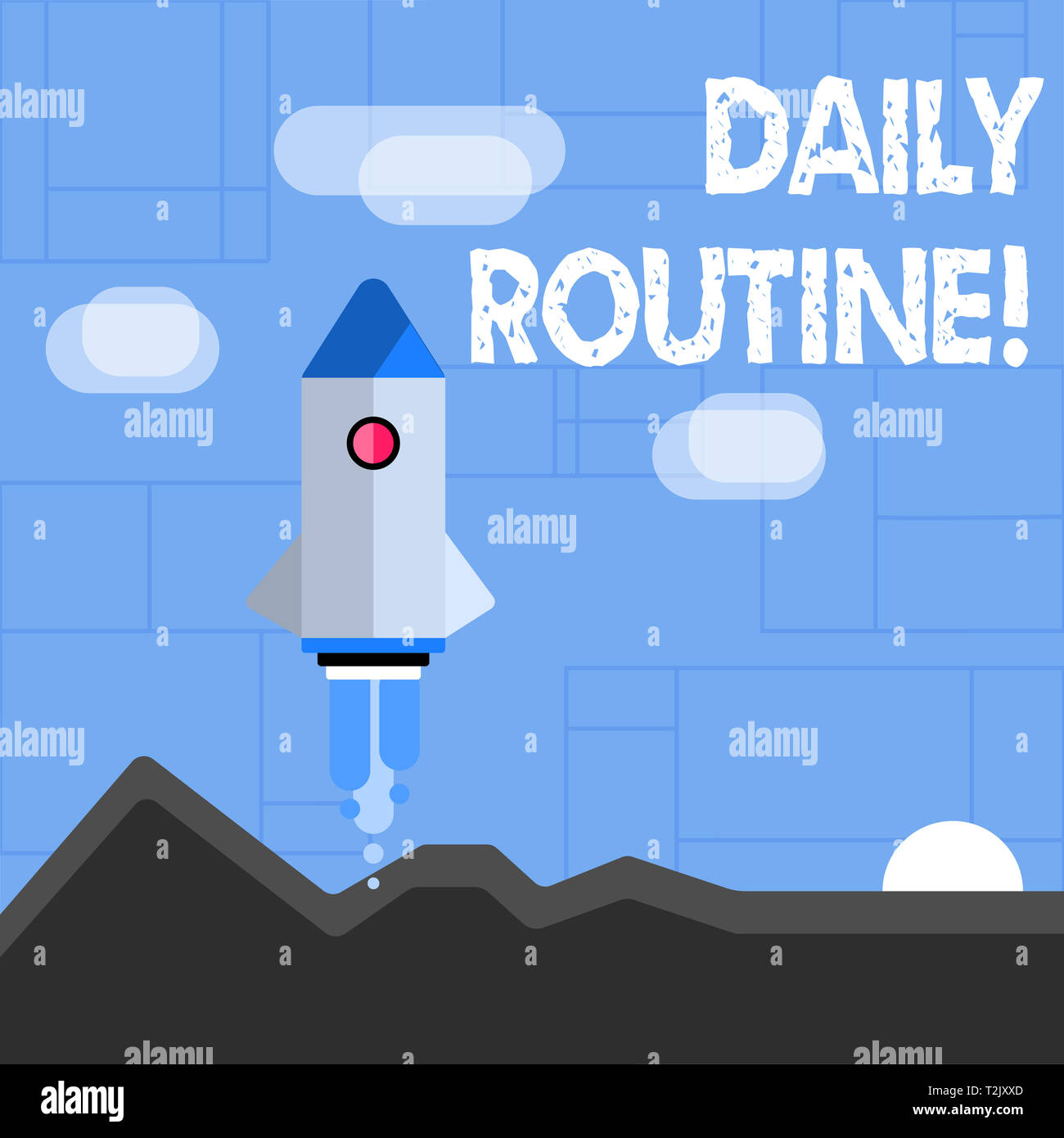 Conceptual hand writing showing Daily Routine. Concept meaning customary or regular course of procedure commonplace tasks Colorful Spacecraft Shuttle  - Stock Image