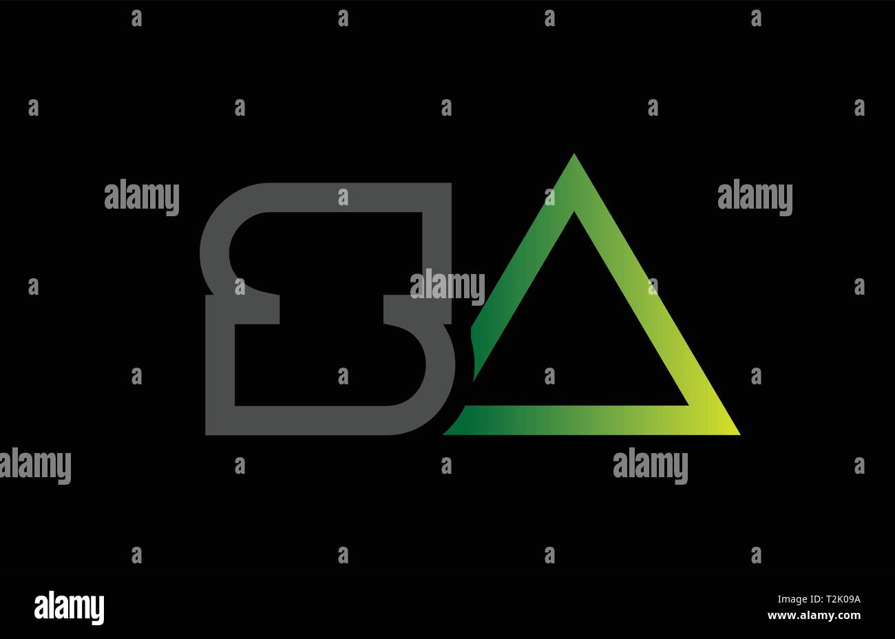 green black grey alphabet letter logo combination sa s a design suitable for a company or business - Stock Vector