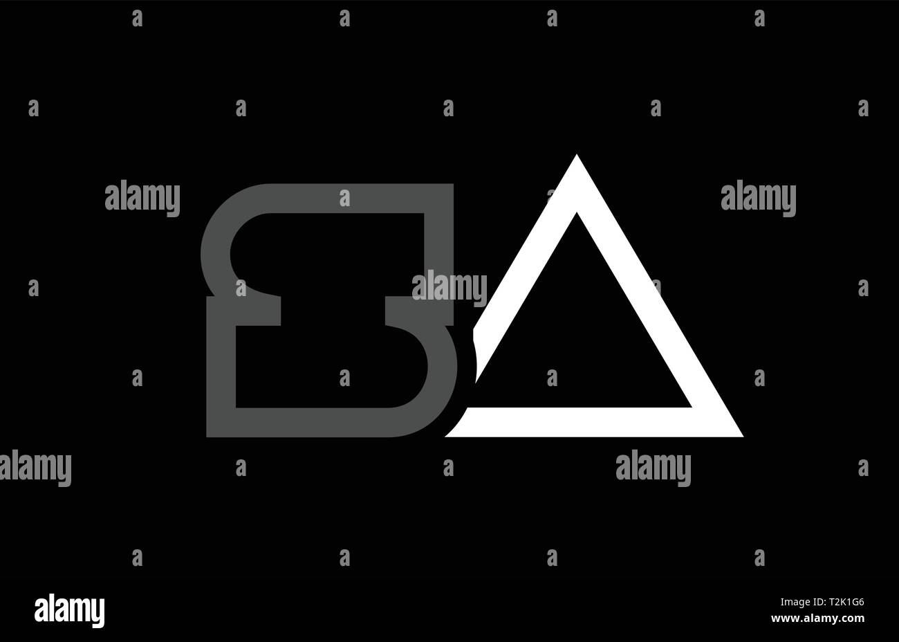 white black grey alphabet letter logo combination sa s a design suitable for a company or business - Stock Vector