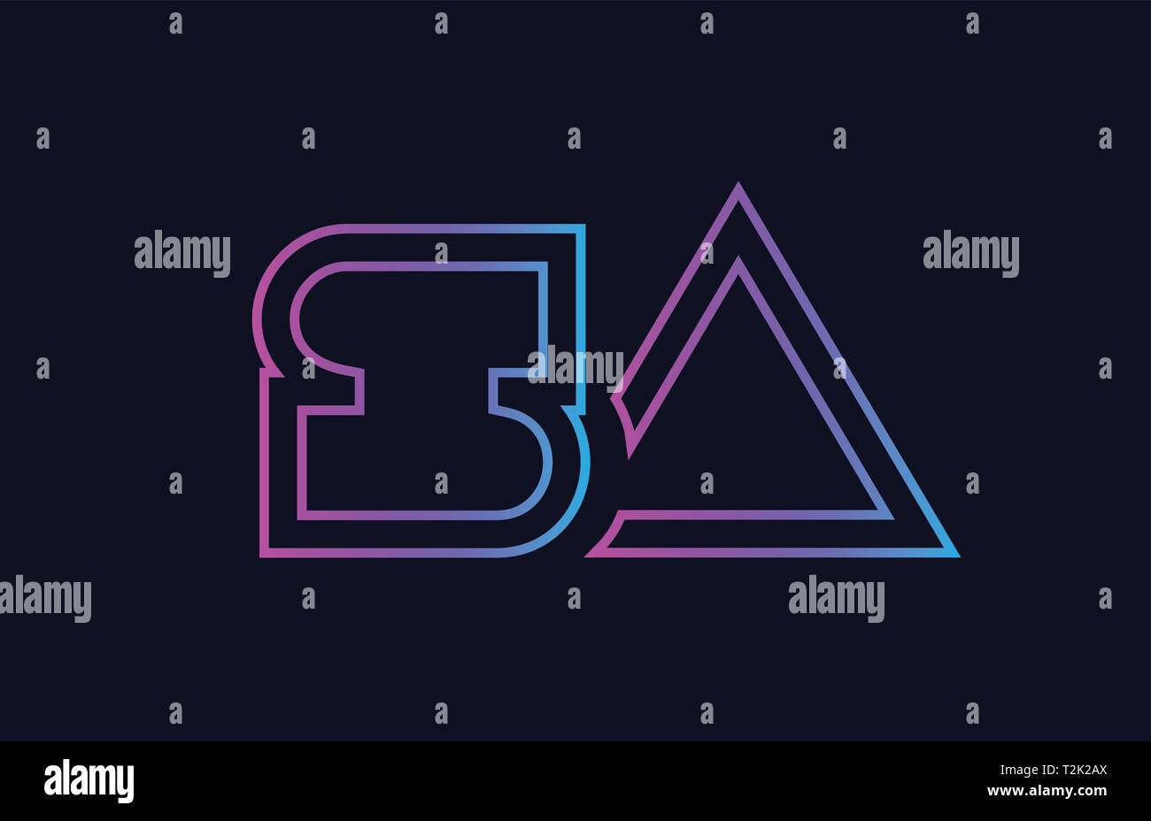 blue pink alphabet letter logo combination sa s a design suitable for a company or business - Stock Vector