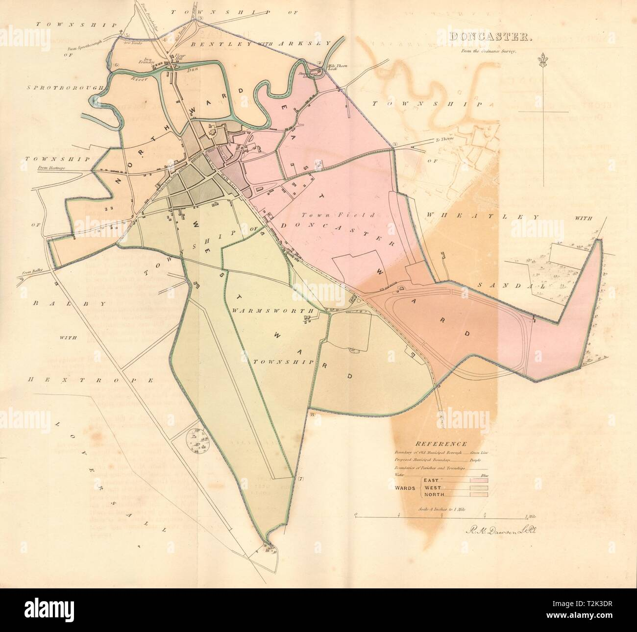 DONCASTER borough/town plan. BOUNDARY REVIEW. Yorkshire. DAWSON 1837 ...