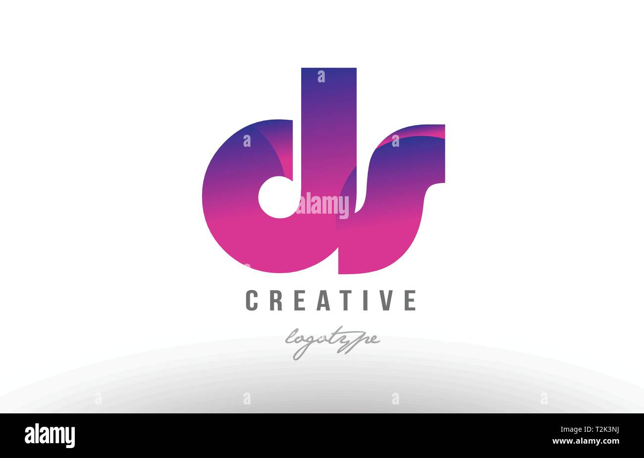 Design Of Alphabet Letter Logo Combination Ds D S With Pink Gradient