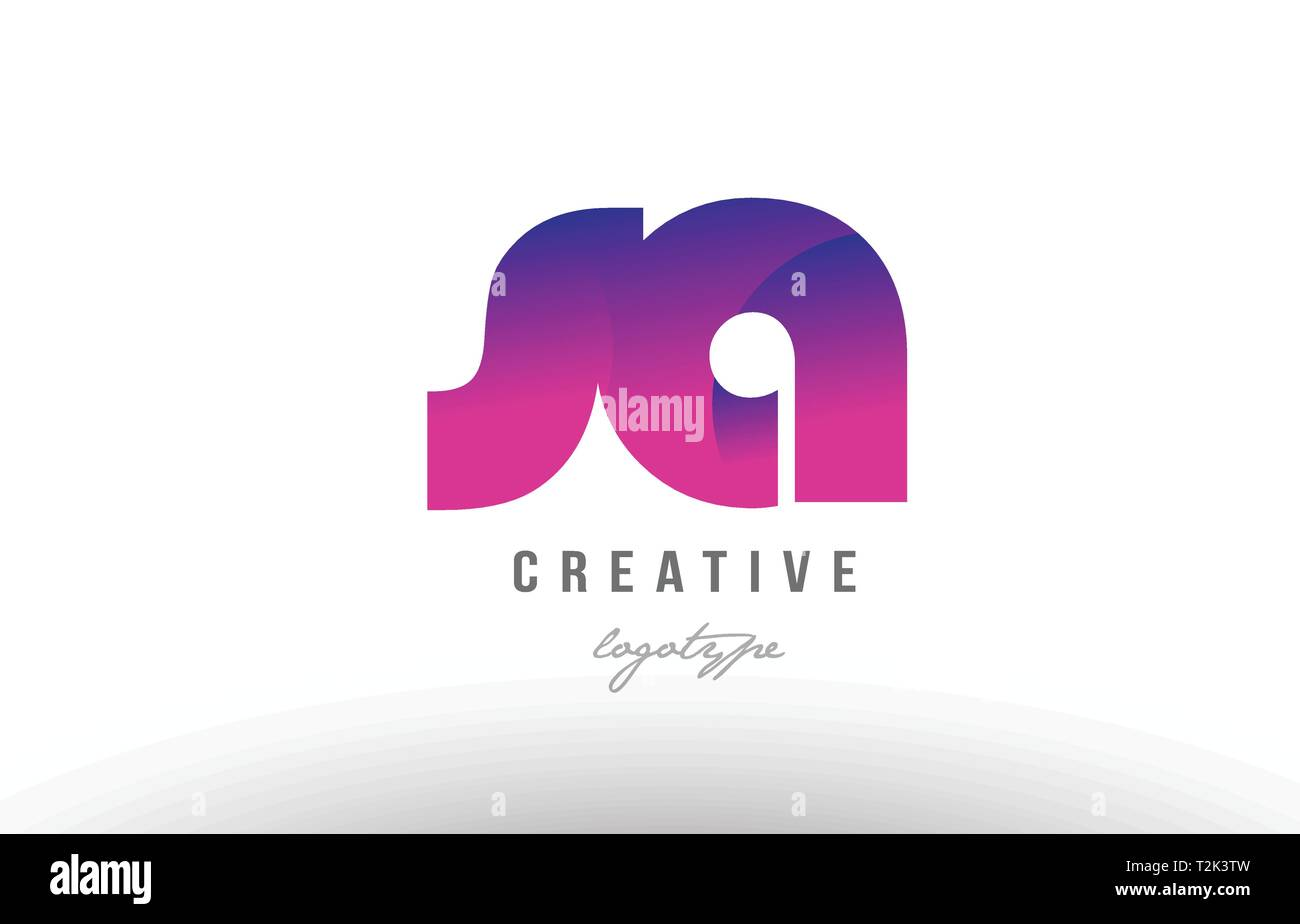 Design of alphabet letter logo combination sa s a with pink gradient color for a company or business - Stock Vector