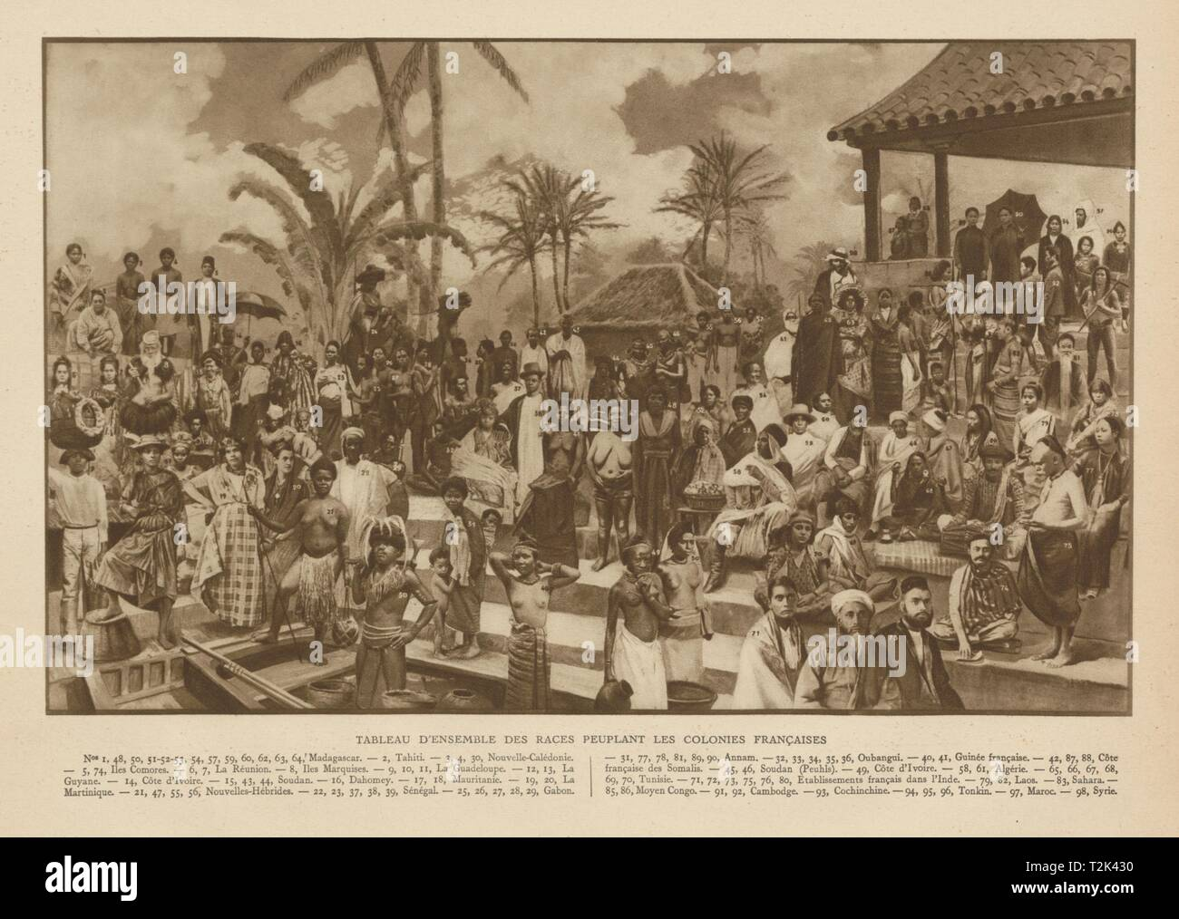 Tableau des races des colonies Francaises. People of the French colonies 1929 - Stock Image