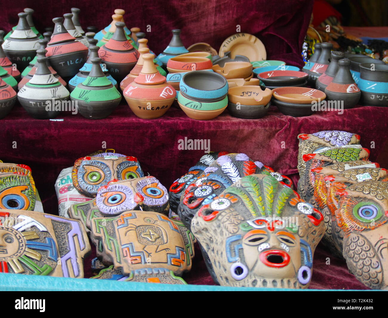 TILCARA, AR - CIRCA OCT, 2018 - Tilcara is the typical andean village, with colorful restaurants and markets. Stock Photo