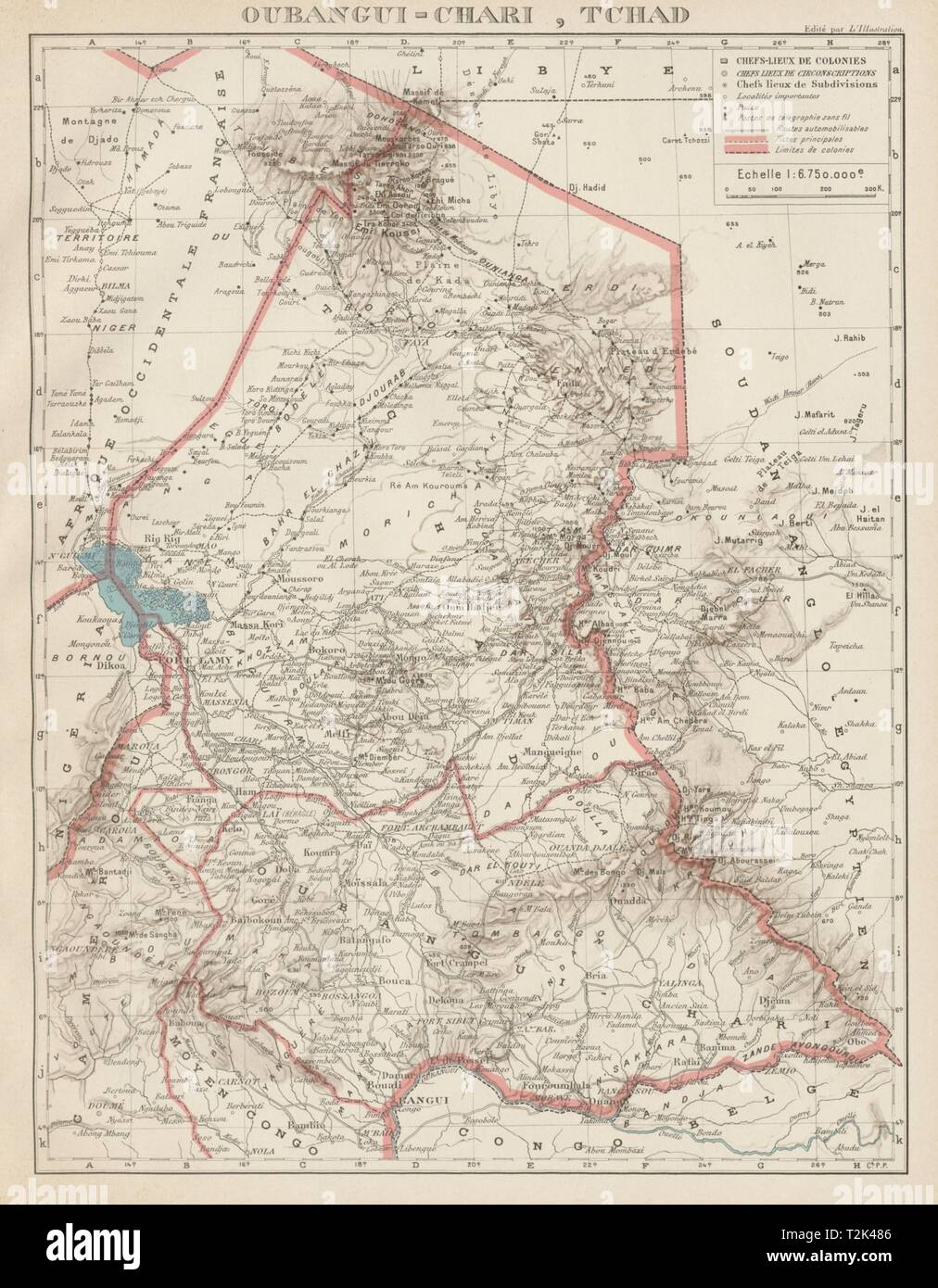 FRENCH COLONIAL CHAD & UBANGI-SHARI (C.A.R.). Oubangui-Chari Tchad 1929 map - Stock Image