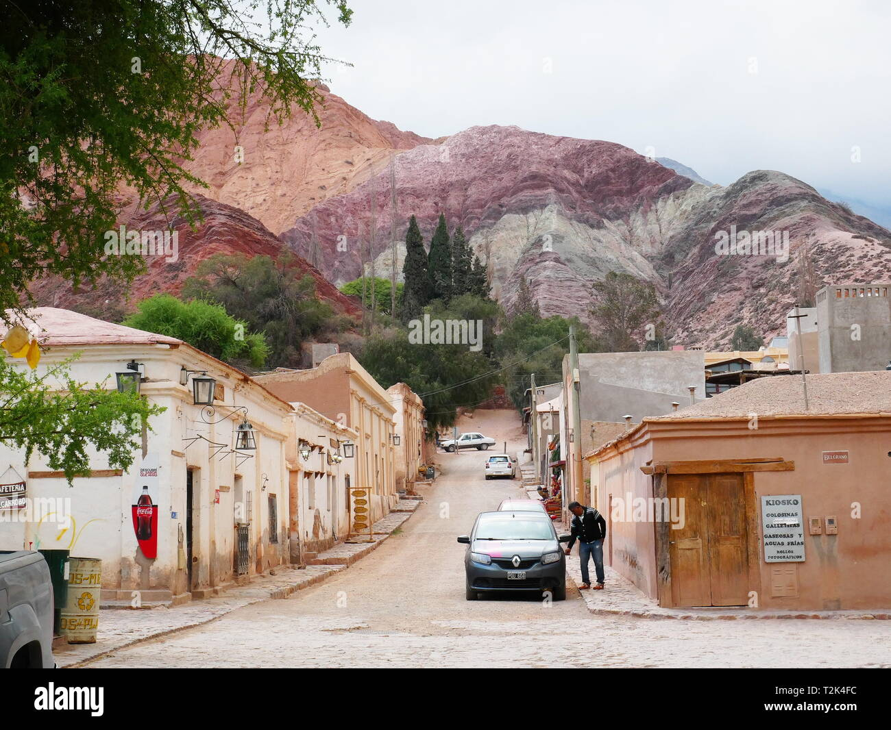 PURMAMARCA, AR - CIRCA OCT, 2018 - The colorful streets of Purmamarca, in the Quebrada de Humahuaca in Argentina. Stock Photo