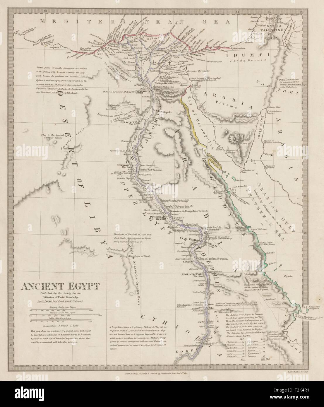 ANCIENT EGYPT & Nile Valley. Ancient place names. Original ...