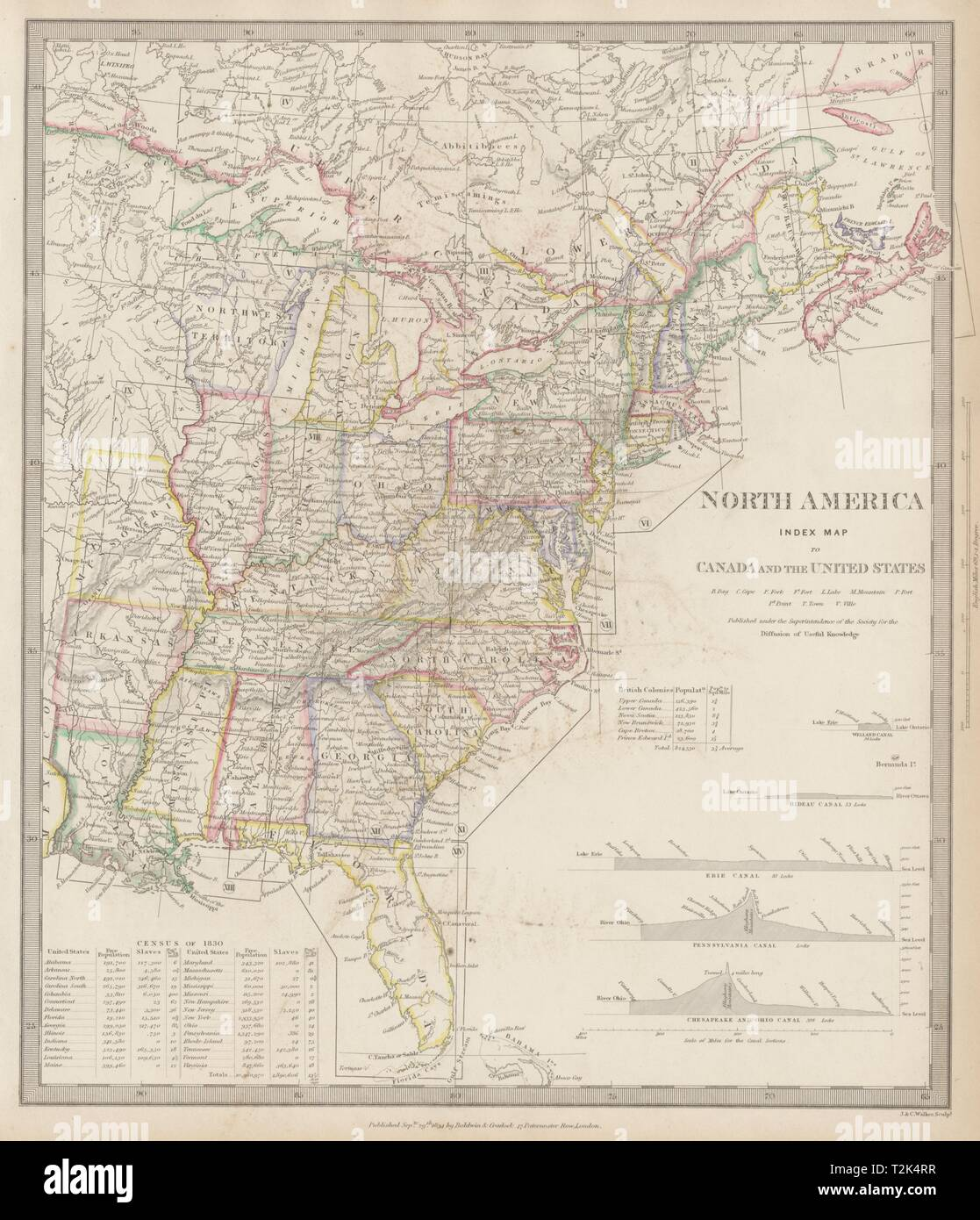 Map Of America East.North America East Canada Usa Canal Profiles 1830 Census