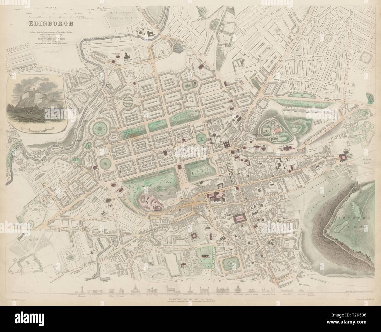 EDINBURGH antique town city map plan. Key buildings profiles. SDUK 1844 Stock Photo