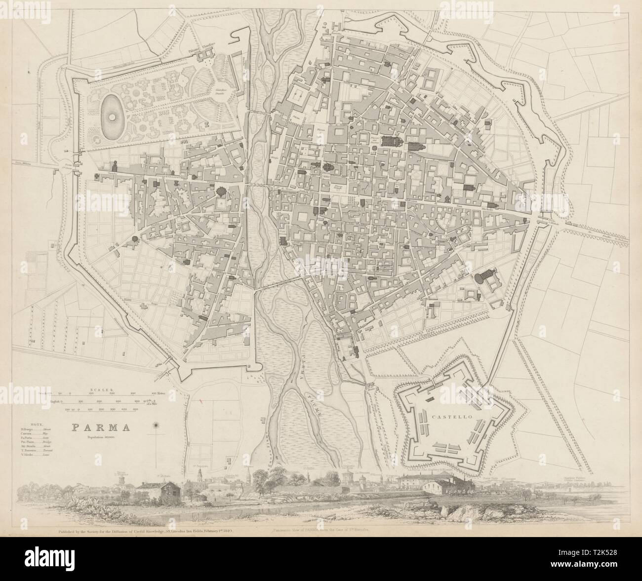 PARMA antique town city map plan & panorama. Parme. Fortifications. SDUK 1844 - Stock Image